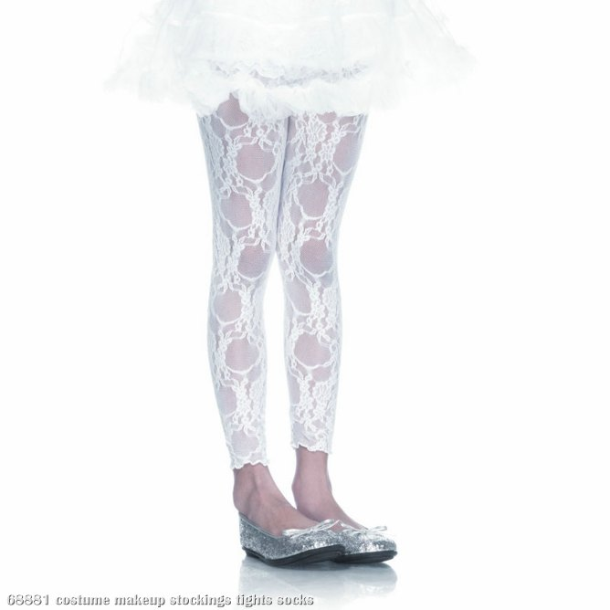 Lace Footless Tights (White) Child